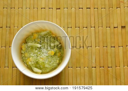 sweet tapioca with corn in coconut cream on cup