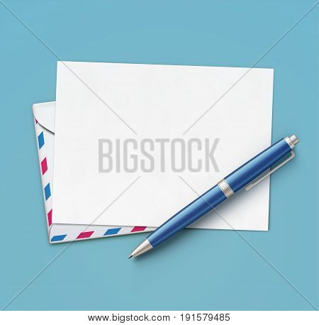 Vector illustration of business concept with blank white paper blue ballpoint pen and realistic airmail envelope