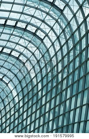 Skylight roof structure of glass and stee interlacedl