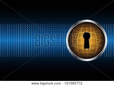 Technology Digital Future Abstract Cyber Security Globe Keyhole Lock Background