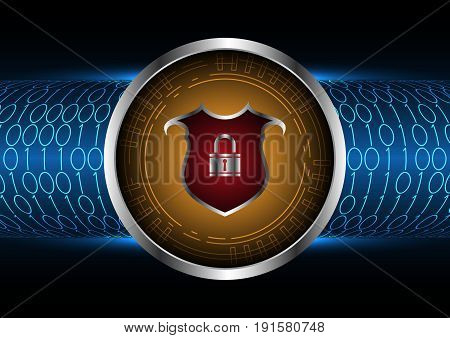 Technology Digital Future Abstract Cyber Security Shield Lock Circle Binary Background