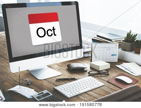 Illustration of calendar schedule planning on computer