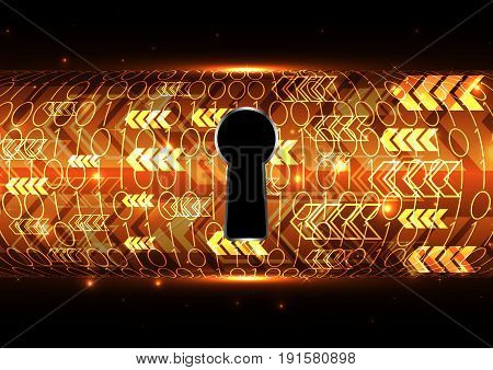 Technology Digital Future Abstract Cyber Security Keyhole Binary Arrow Background