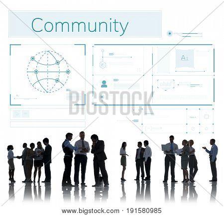 Digital Online Community Internet Concept