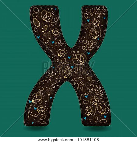The Letter X with Golden Floral Decor. Dark brown symbol. Yellow flowers and plants with metallic blazing effect. Blue small hearts. Vector Illustration