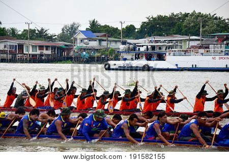 Thai People Join Match And Competition In Thailand Traditional Long Boat Racing Festival