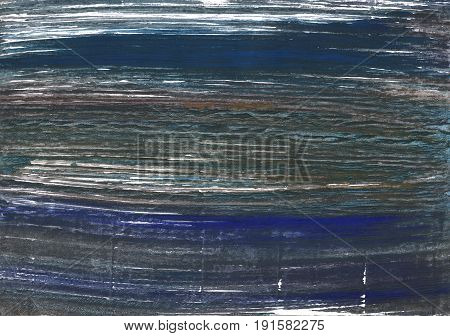 Hand-drawn abstract watercolor background. Used colors: Charcoal Onyx Japanese indigo Gunmetal Outer Space Arsenic Space cadet Davys grey Yankees blue Independence
