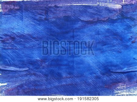 Hand-drawn abstract watercolor background. Used colors: Cerulean blue Denim Blue Royal blue Violet-blue New car Han blue Blue Egyptian blue Liberty Cosmic Cobalt