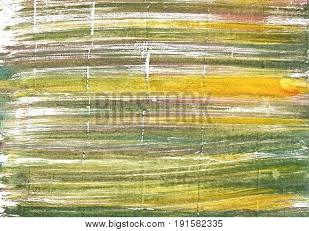 Hand-drawn abstract watercolor background. Used colors: White Moss green Dark khaki Old moss green Artichoke Dark tan Brass Vegas gold Gold Fusion Misty Moss