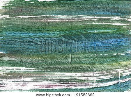 Hand-drawn abstract watercolor background. Used colors: White Dark slate gray Gray-asparagus Hookers green Axolotl Deep moss green Wintergreen Dream Feldgrau
