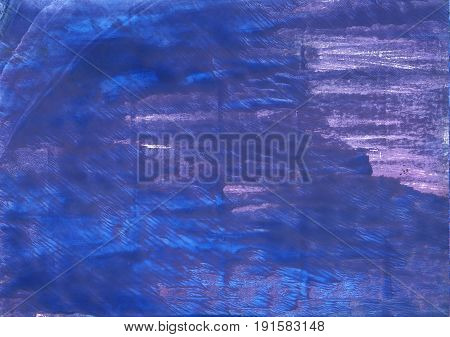 Hand-drawn abstract watercolor background. Used colors: Chinese blue Liberty Violet-blue Dark slate blue Han blue Blue Toolbox Cerulean blue Cosmic Cobalt