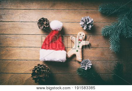 Ginbgerbread Man Cookie And Santa Claus Hat