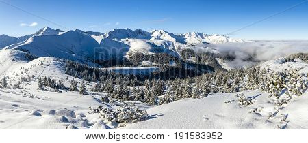 Winter In The Mountains - Panorama Of Western Tatras.