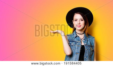 Woman In Hat On Yellow Background