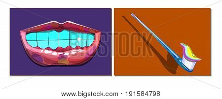 An image of two objects. The first object is smiling lips and healthy teeth. The second object is a toothbrush and toothpaste.