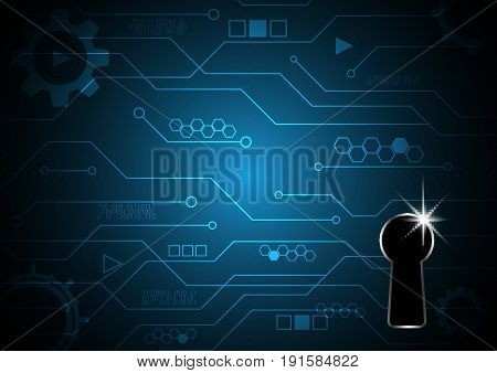 Technology Digital Future Abstract Cyber Security Keyhole Lock Circuit Background