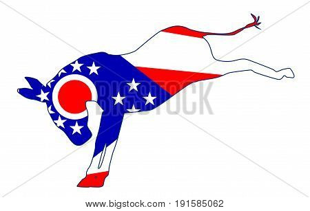 The Ohio Democrat party donkey flag over a white background
