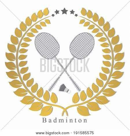 Vector illustration of logo for the game of badminton flying shuttlecock racket on background.Badminton drawing consisting of sports equipment rackets for games.