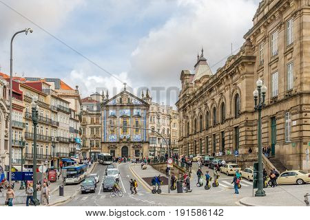 PORTO,PORTUGAL - MAY 13,2017 - Church Saint Antony in the streets of Porto. Porto is one of the oldest European centres and its historical core was proclaimed a World Heritage Site by UNESCO in 1996.