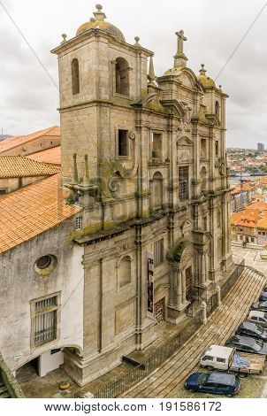 PORTO,PORTUGAL - MAY 13,2017 - View at the church of Sao Laurenco (Grilos) in Porto. Porto is one of the oldest European centres and its historical core was proclaimed a World Heritage Site by UNESCO in 1996.