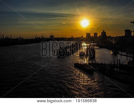 View Of The City Of Hamburg At Sunset Hdr