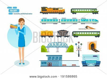 Collection of modern railway locomotives, passengers wagons and speed trains, railroad station, transport carriage, girl check-taker. Modern vector illustration isolated on white background.