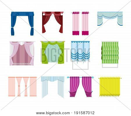 Set of various curtains, decorative, from different materials, types and colors. Vector illustration of curtains, isolated on white background.