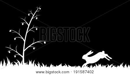 Vector illustration the silhouette of hare in the grass.