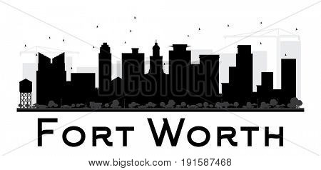 Fort Worth City skyline black and white silhouette. Simple flat concept for tourism presentation, banner, placard or web site. Cityscape with landmarks.