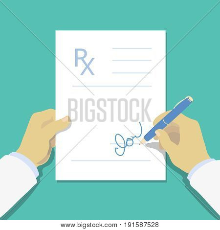 Medical prescription pad flat design style, Rx form. Medical background, template with doctor hand. illustration