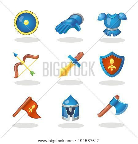 Knight weapon cartoon icons set. Medieval weapons, shields, armor and helmet, bow and sword game design, UI .