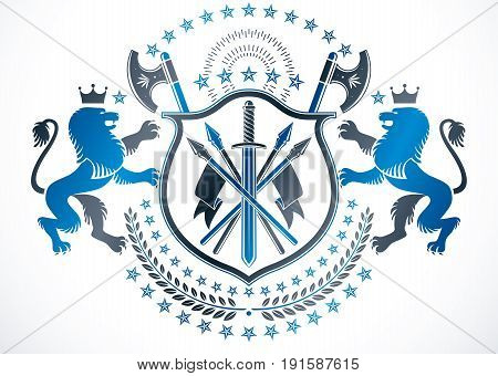 Classy emblem vector heraldic Coat of Arms. Vector protection emblem made with king lion illustration sharp spears and pentagonal stars.