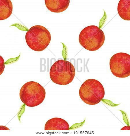 Watercolor Seamless Peach Fruits Pattern.