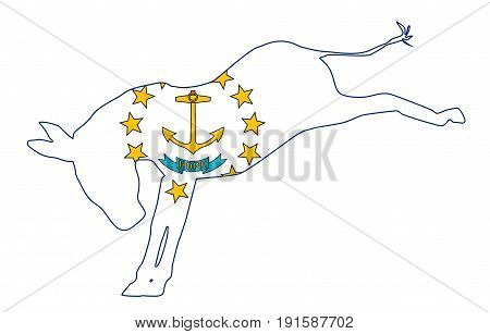 The Rhode Island Democrat party donkey flag over a white background