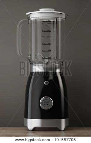 Kitchen Appliance Concept. Modern Electric Blender on a wooden table. 3d Rendering.