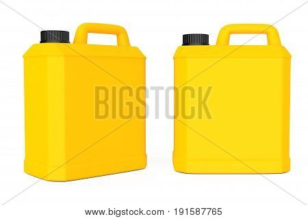Yellow Plastic Blank Container on a white background. 3d Rendering.
