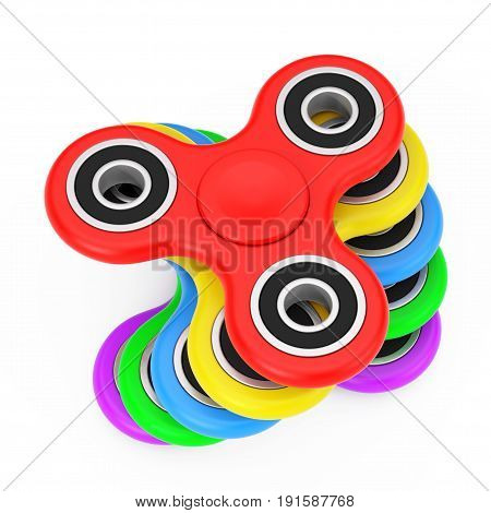 Stack of Milticolour Fidget Finger Spinners Antistress Toy on a white background. 3d Rendering.