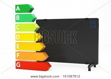 Mobile Convection Heater Radiator near Energy Efficiency Rating Chart on a white background. 3d Rendering.