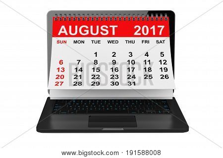 2017 year calendar. August calendar over laptop screen on a white background. 3d rendering