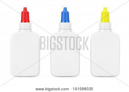 White Glue Bottle with Copy Space and Spreader Cap on a white background. 3d Rendering.