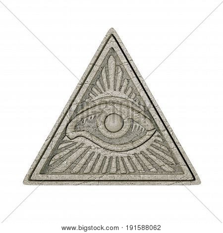 Masonic Symbol Concept. All Seeing Eye inside Pyramid Triangle as Stone on a white background. 3d Rendering.