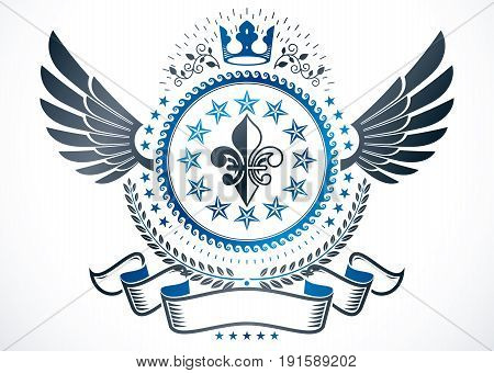 Vector emblem made in vintage heraldic design and created using lily flower monarch crown and stars
