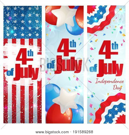 Happy 4th of July, Independence Day, set of greeting cards vertical banners. Happy July Fourth. Vector