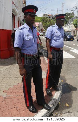 ST. GEORGE'S, GRENADA - JUNE 12, 2017: Royal Grenada Police officers in St. George's, Grenada