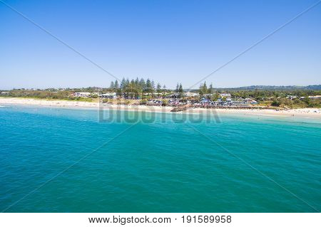 An aerial view of the Byron Bay coastline on Australia's east coast. Byron Bay is a popular tourist destination for travelers from all over the world.