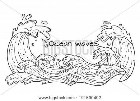 Hand drawn cartoon ocean waves with drops and splashes outline vector illustration