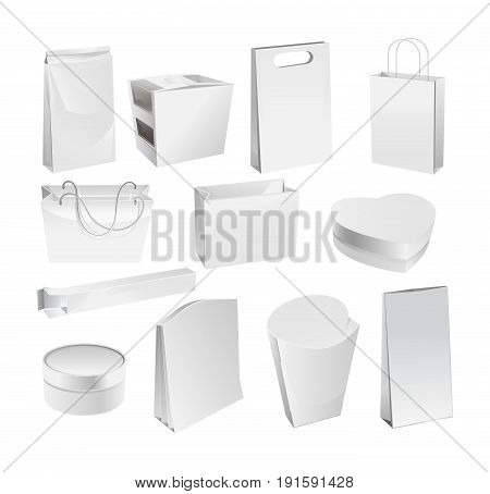 Set of real packages of products: a paper bag from fast food, a cardboard box, various forms, a bag, from different materials. Vector illustration isolated on white background.