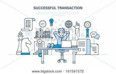 Successful transaction, concluded contracts and transactions, business strategy, planning and working methods. Illustration thin line design of vector doodles, infographics elements.