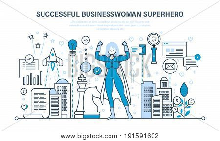 Successful businesswoman is superhero, project management, success in work, time management, planning. Young women superhero. Illustration thin line design of vector doodles, infographics elements.