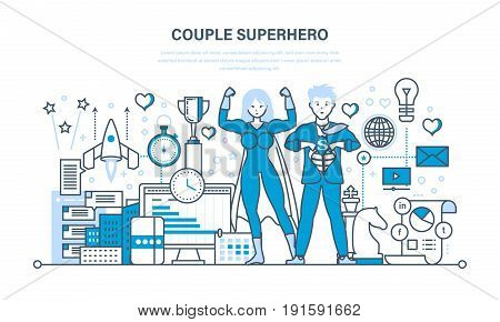 Couple business people is a superhero, project management, success in work, time management, planning. Young superheroes. Illustration thin line design of vector doodles, infographics elements.